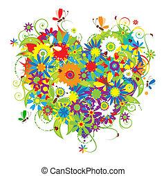 Floral heart shape, love