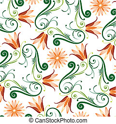 Floral Pattern On White Background