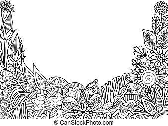 Hand drawn style floral with copy space for backdrop, wallpaper, printed card and so on. Vector illustration