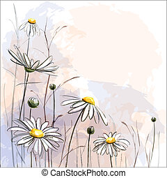 Romantic background with blooming oxeye daisies. EPS10