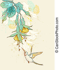 Flowers and humming-bird