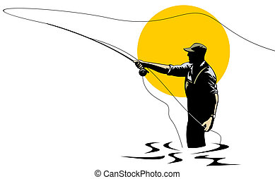 Illustration on fly fishing