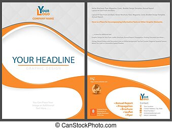 Flyer Template with Abstract Orange Shapes