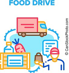 Food Drive Box Vector Concept Color Illustration