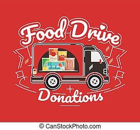 Food Drive charity movement, vector illustration