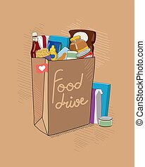 Food Drive charity vector illustration with brown paper bag with tittle and non perishable food packages. Help for people.
