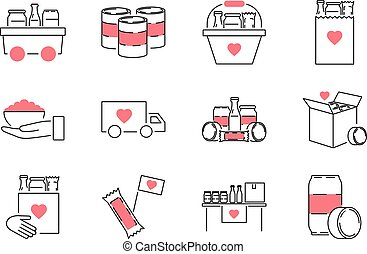Food drive outline icon collection set. Charity meal vector illustration.