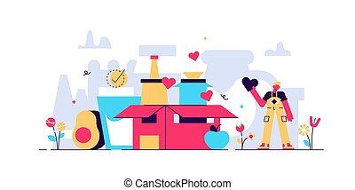 Food drive vector illustration. Flat tiny