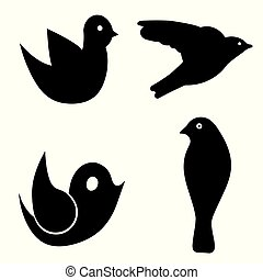 four birds vector set - black silhouette bird