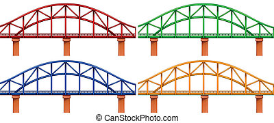 Illustration of the four colorful bridges on a white background