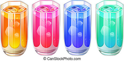 Illustration of the four glasses of cocktail drinks on a white background