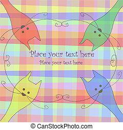 Four multi-colored cats