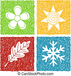 Illustration of four seasons icons - doodle drawings on white background