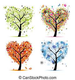 Four seasons - spring, summer, autumn, winter. Art tree heart shape for your design