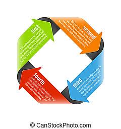 Four steps process arrows