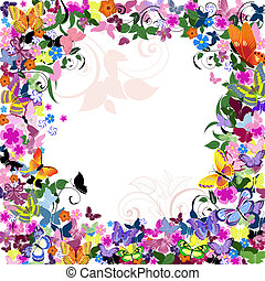 Frame floral pattern with butterflies