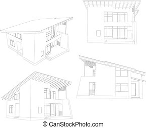 Frame house. Four angle. Vector format. Created from 3D model