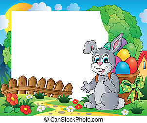 Frame with Easter bunny theme 4