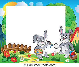Frame with Easter bunny theme 9