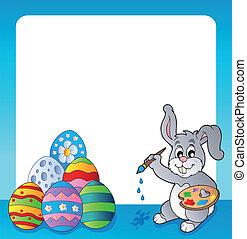 Frame with Easter bunny topic 1