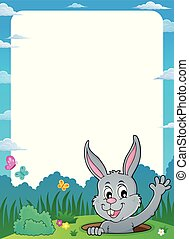 Frame with lurking Easter bunny theme 1