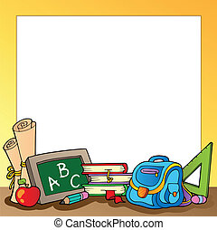 Frame with school supplies 1
