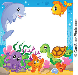 Frame with underwater animals 1
