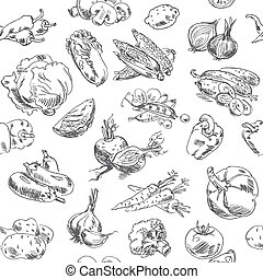 Freehand drawing vegetables. Vector illustration. Seamless pattern. Isolated on white background