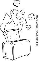 black and white cartoon burnt toast