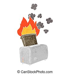retro cartoon burnt toast