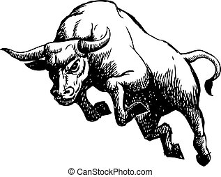 freehand sketch illustration of charging bull, doodle hand drawn