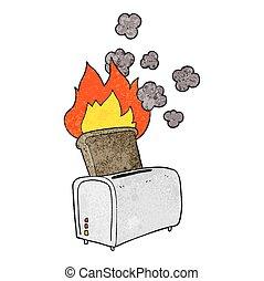 textured cartoon burnt toast
