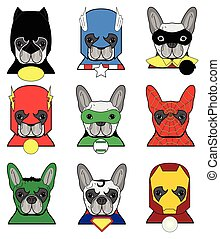 French bulldog heroes in in color