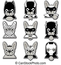 French bulldog heroes in label