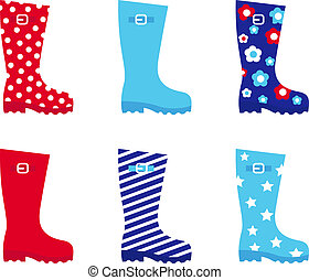 Fresh & colorful rubber wellington boots isolated on white