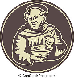 Illustration of a friar monk cook with mixing bowl done in retro woodcut style.