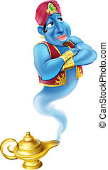 Illustration of a friendly Jinn or genie coming out of a gold magic oil lamp like the one in the Aladdin story