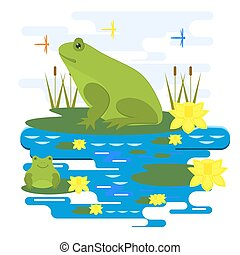 Frogs on the pond among the reeds and dragonflies. Illustration.