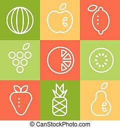 Fruits in Line Art Style. Vector Illustrations Set.