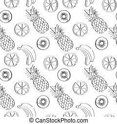 Fruits. Line art, seamless pattern.