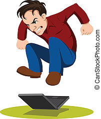 frustrated man with his laptop