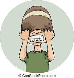 A cartoon man pulls his toque over his eyes in frustration.