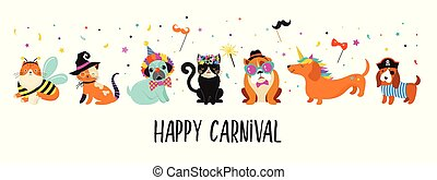 Funny animals, pets. Cute dogs and cats with a colorful carnival costumes, vector illustration
