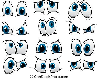 Large set of people cartoon eyes depicting a variety of expressions with anger, sadness, surprise and happiness with blue irises, vector illustration on white