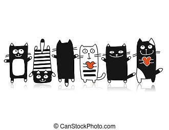 Funny cats collection, sketch for your design