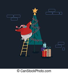 Funny Christmas Santa Claus in flat style. Santa decorating Xmas tree. Festive characters for Christmas card, design, paper. Vector illustration