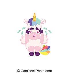 Funny cute unicorn cartoon character crying, flat vector illustration isolated.