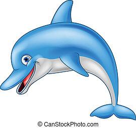 Vector illustration of funny dolphin cartoon