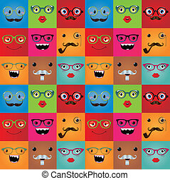 Funny hipster monster face expressions seamless background. Vector illustration. Pattern, texture