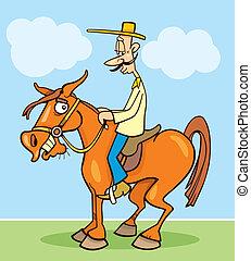 Cartoon illustration of funny horseman